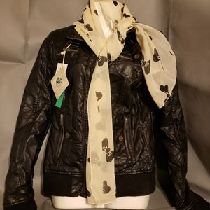 NwoT - Cream with Black Bows Scarf